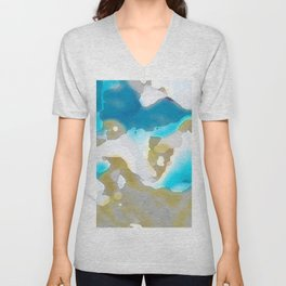 Blue and Gold Watercolor Unisex V-Neck