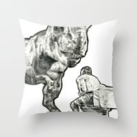 jurassic park Throw Pillows featuring jurassic by BzPortraits