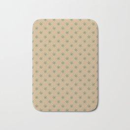 Cadmium Green on Tan Brown Snowflakes Bath Mat