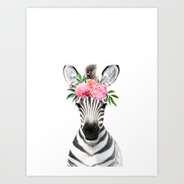 Baby Zebra with Flower Crown Art Print