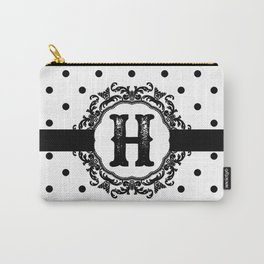 Black Monogram: Letter H Carry-All Pouch