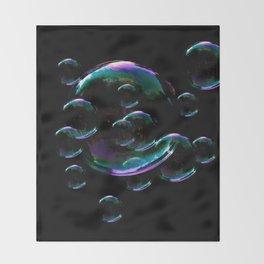 IRIDESCENT SOAP BUBBLES  BLACK COLOR Throw Blanket