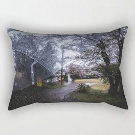 From My Umbrella - Sakura path at rainy day in Japan Rectangular Pillow