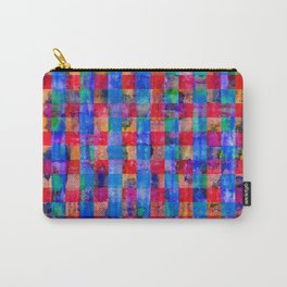 Weathered Plaid Hot Pink & Cobalt Blue Carry-All Pouch