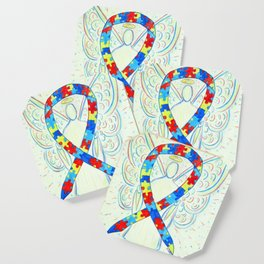 Autism Puzzle Piece Awareness Ribbon Angel Art Painting Coaster