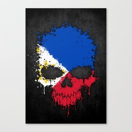 Flag of Philippines on a Chaotic Splatter Skull Canvas Print