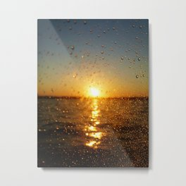 Sunset Glass Water Drops Color Photo Metal Print