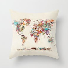 world map watercolor deux Throw Pillow