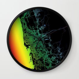 Jeddah, Saudi Arabia, City, Map, Rainbow, Map, Art, Print Wall Clock