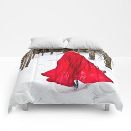 Little Red Riding Hood Runs Through The Woods In Winter Comforters