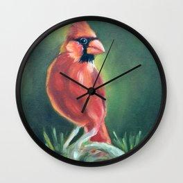 Cheeky Red Cardinal Male Bird On fir painting Wall Clock