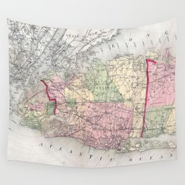 Vintage Map of Long Island New York (1873) Wall Tapestry