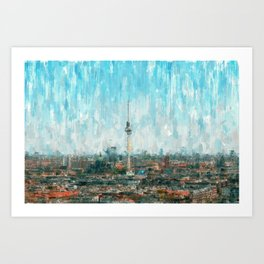 Berlin Skyline & Tv Tower, City Painting /  impressionism   / abstract landmarks drawing Art Print
