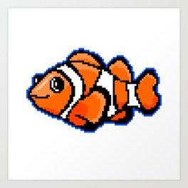 8-Bit Pixel Art Clown Fish Art Print