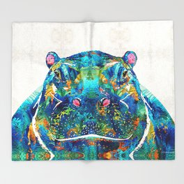 Hippopotamus Art - Happy Hippo - By Sharon Cummings Throw Blanket