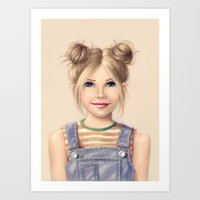 90s Art Prints featuring 90s Chick by kristen keller reeves