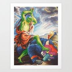 Kermit Slaying His Pet Monster Art Print
