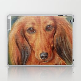 Teckel Dachshund Red Dog Cute Pet Portrait on green background Autumn colours Oil painting on canvas Laptop & iPad Skin