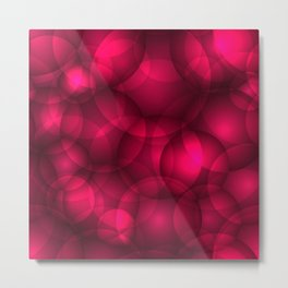 Glowing pink soap circles and volumetric glamorous bubbles of air and water. Metal Print