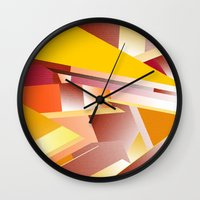 orange pattern Wall Clocks featuring Orange pattern by sladja