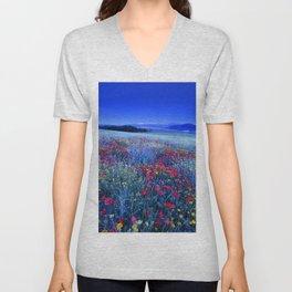 Spring poppies at blue hour Unisex V-Neck