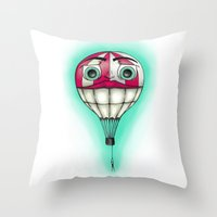 baloon Throw Pillows featuring Acrophobia Baloon by Tayler Kiiim