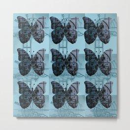 High Tech Butterflies (blue) Metal Print