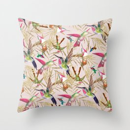 Colorful pink green hummingbird faux gold floral Throw Pillow