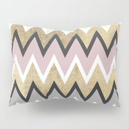 Modern abstract pink teal gold geometrical chevron Pillow Sham