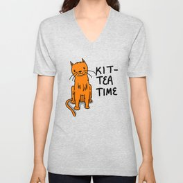 Kit-Tea Time | Veronica Nagorny  Unisex V-Neck