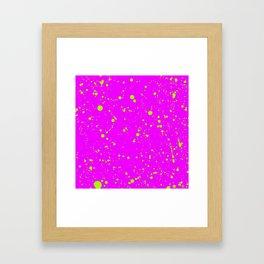 Neon Yellow Spray Splatters on Fuchsia Surface Framed Art Print