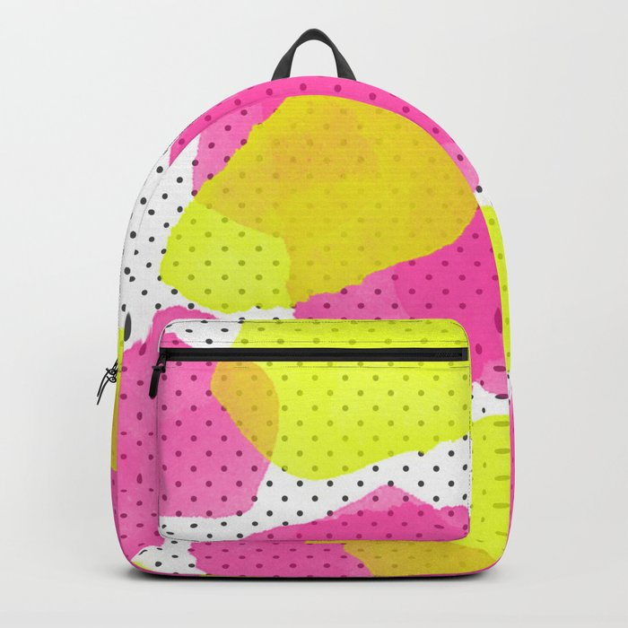 Sarah's Flowers - Abstract Watercolor on Polka Dots Backpack