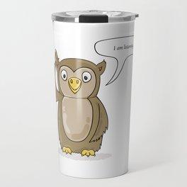 cute owl listening Travel Mug