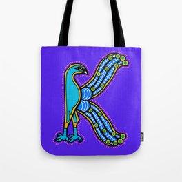 Illuminated Peacock Letter K 2017 Purple Tote Bag