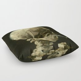 Vincent van Gogh - Skull of a Skeleton with Burning Cigarette Floor Pillow