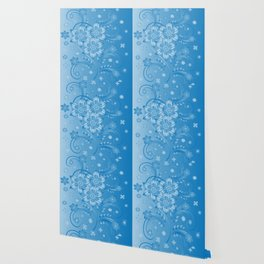 Abstract blue flowers with background Wallpaper