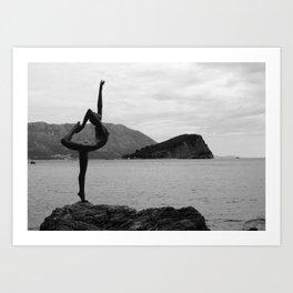 Dancer of Budva, black and white Art Print
