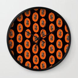 Papaya fruit tropical nature vacation pattern healthy foods vegan gifts Wall Clock