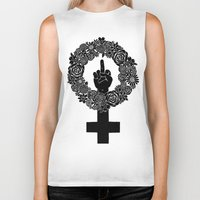 patriarchy Biker Tanks featuring FUCK THE PATRIARCHY by Aimee Fleck