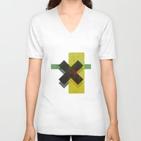 cross V-neck T-shirts featuring CROSS by Metron