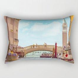 Italy Photography -  Boats In The Venice Canal Rectangular Pillow