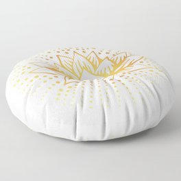 Golden Lotus Mandala Light Floor Pillow