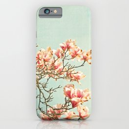 Pink Magnolia Flowers on Aqua Blue Green and French Script iPhone Case