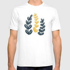 Yellow Leaves White Mens Fitted Tee SMALL