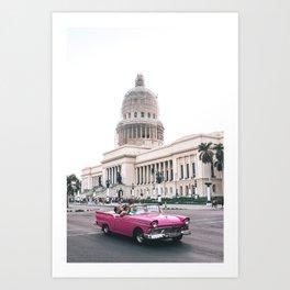 Classic car pink Art Print