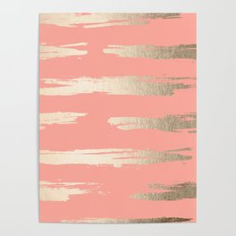 Simply Brushed Stripe in White Gold Sands on Salmon Pink Poster