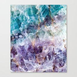 Turquoise & Purple Quartz Crystal Canvas Print