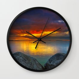 Stormy Tropical Sunset Sea Wall Clock