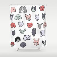 puppies Shower Curtains featuring Pastel Puppies by Elisa MacDougall