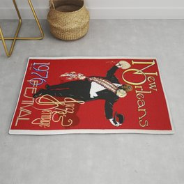 1976 New Orleans Jazz Festival Advertising Gig Poster Rug
